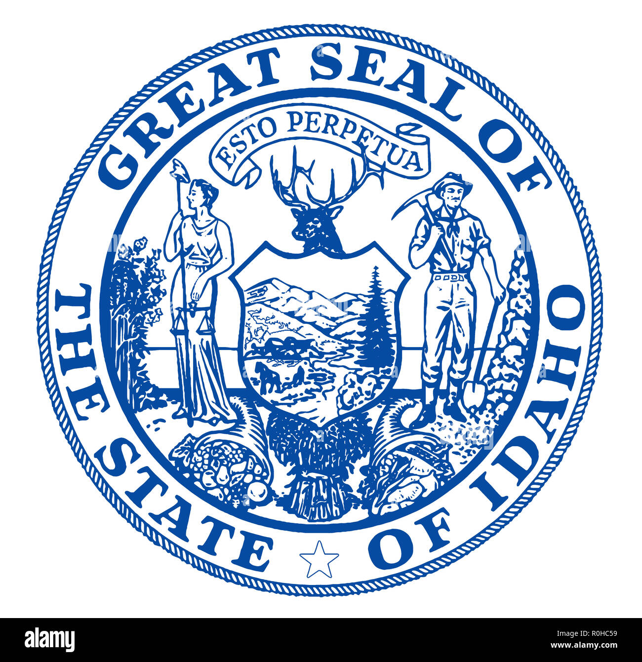 The state seal of the USA state of Idaho over a white background - Stock Image