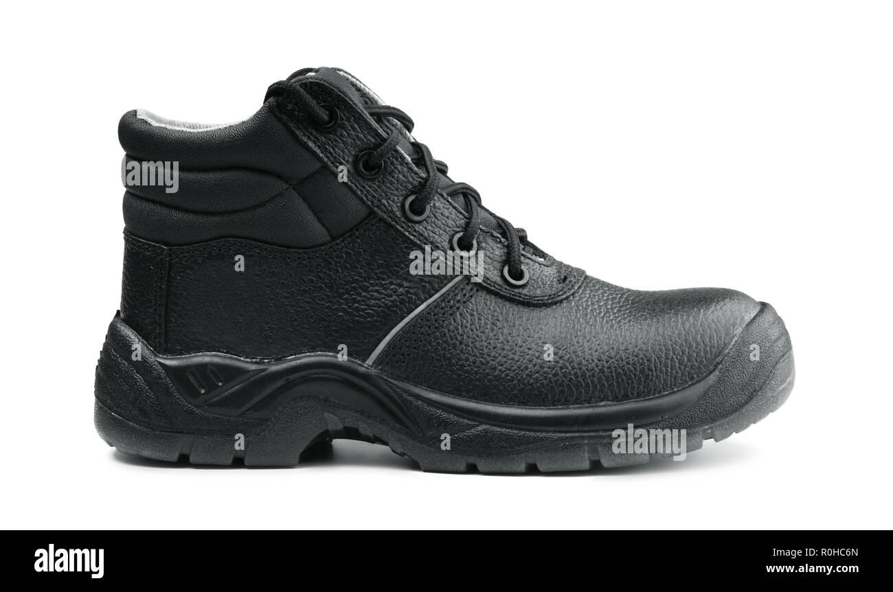 One black safety shoe isolated on white background - Stock Image