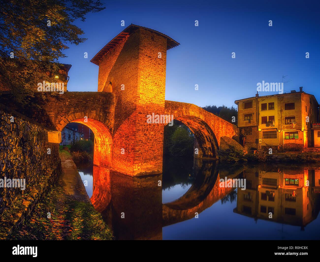Balmaseda bridge illuminated at night - Stock Image
