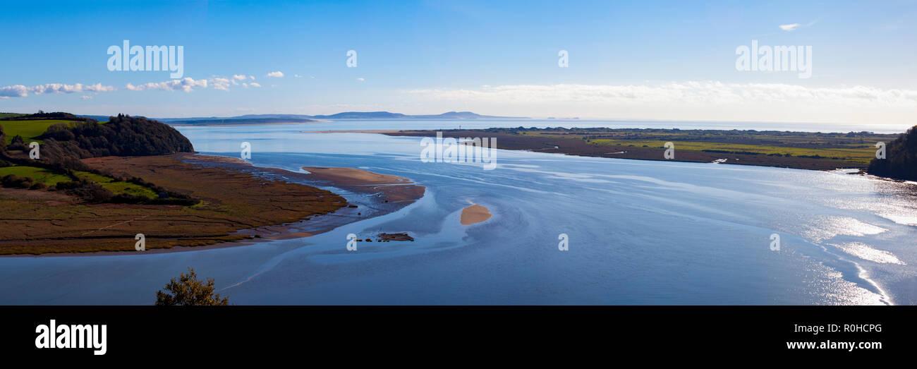Taf Estuary, Laugharne, Carmarthenshire, West Wales, UK – panorama - Stock Image