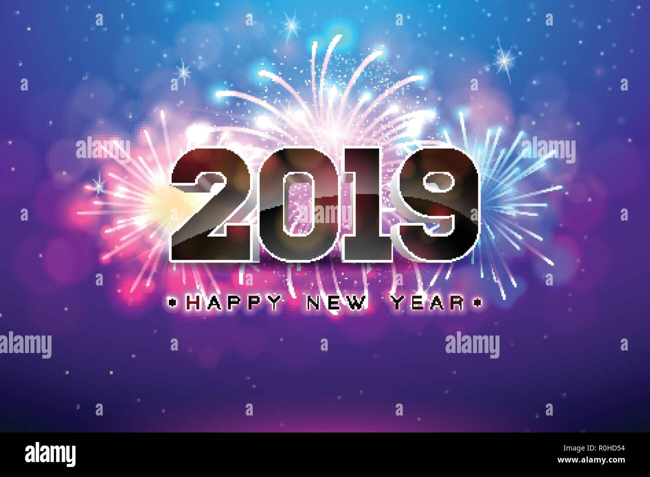 Happy New Year 2019 Illustration With Fireworks And 3d Number On