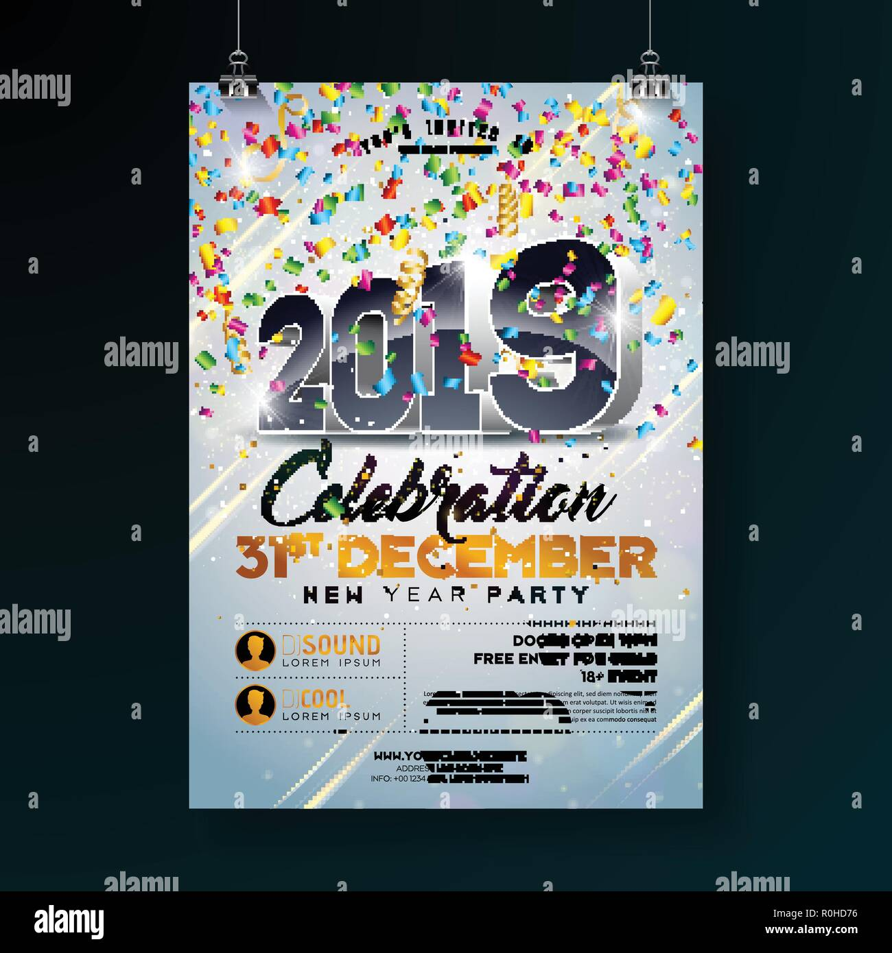 new year party celebration poster template illustration with 3d 2019 number and falling colorful confetti on shiny clear background