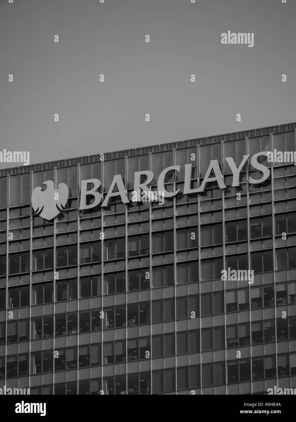 Barclays Building, Canary Wharf, London, Docklands, London, England, UK, GB. - Stock Image