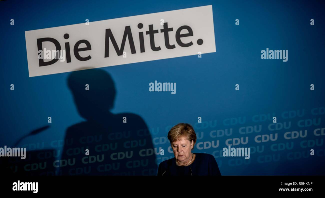 Berlin, Germany. 05th Nov, 2018. Chancellor Angela Merkel (CDU) addresses media representatives at a press conference at the CDU headquarters in the Konrad-Adenauer-Haus. The topic was the results of the CDU retreat. Credit: Michael Kappeler/dpa/Alamy Live News - Stock Image