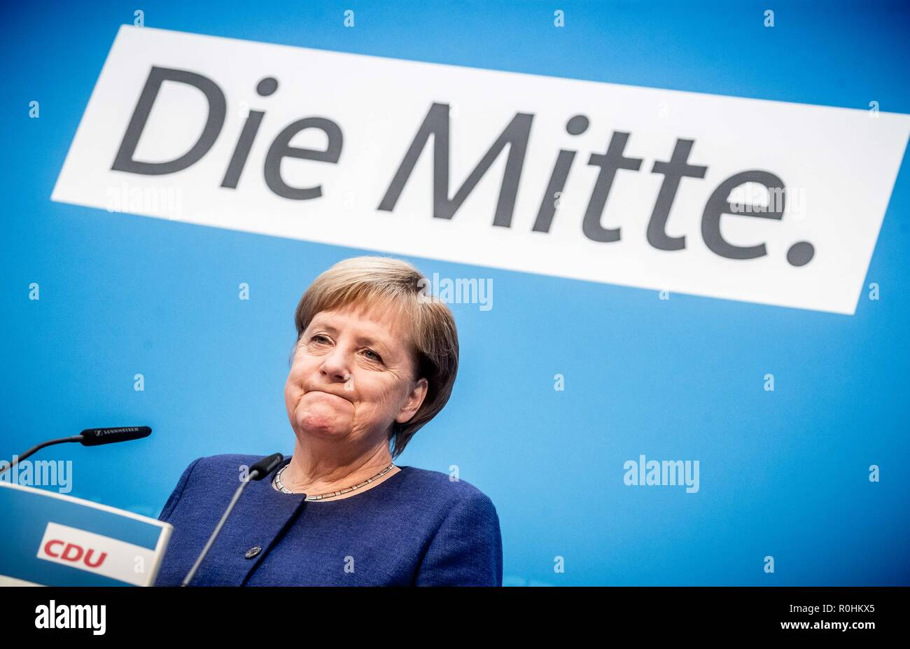 Berlin, Germany. 05th Nov, 2018. German Chancellor Angela Merkel of the Christian Democratic Union speaks at a press conference of the CDU in the party headquarters, Konrad-Adenauer-Haus. Credit: Michael Kappeler/dpa/Alamy Live News - Stock Image