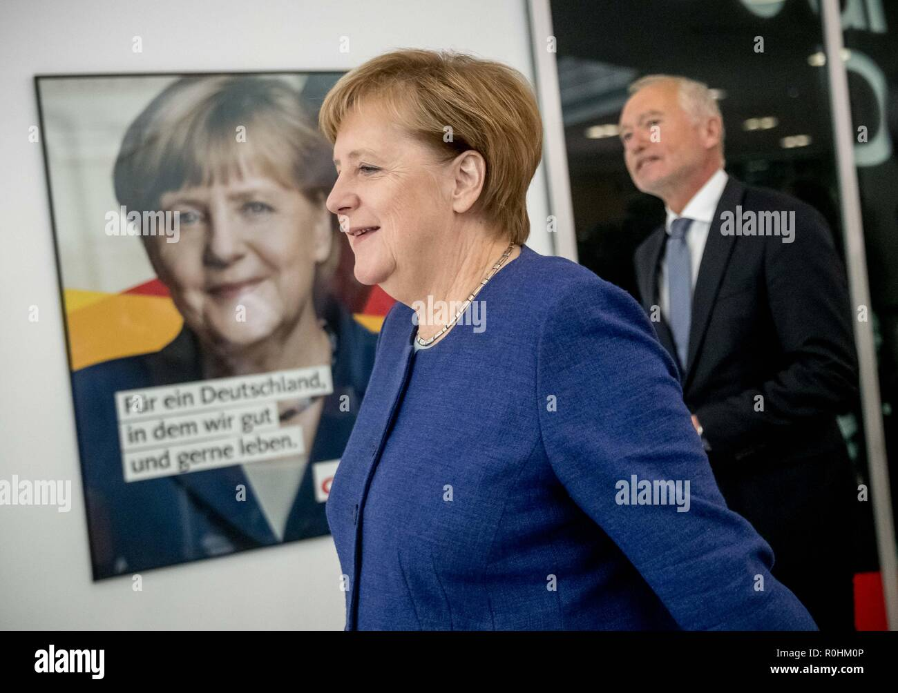 Berlin, Germany. 05th Nov, 2018. Federal Chancellor Angela Merkel (CDU) will attend a press conference at the CDU headquarters in the Konrad-Adenauer-Haus, together with Klaus Schüler, the CDU's Federal Managing Director, at which media representatives will be present. The topic was the results of the CDU retreat. Credit: Michael Kappeler/dpa/Alamy Live News - Stock Image