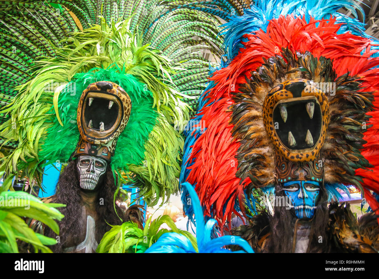 London, UK. 05.Nov.2018 Mexico with their fantastic colours at The World Travel  Market with traditional costume for the Day of the Dead  .@Paul Quezada-Neiman/Alamy Live News - Stock Image