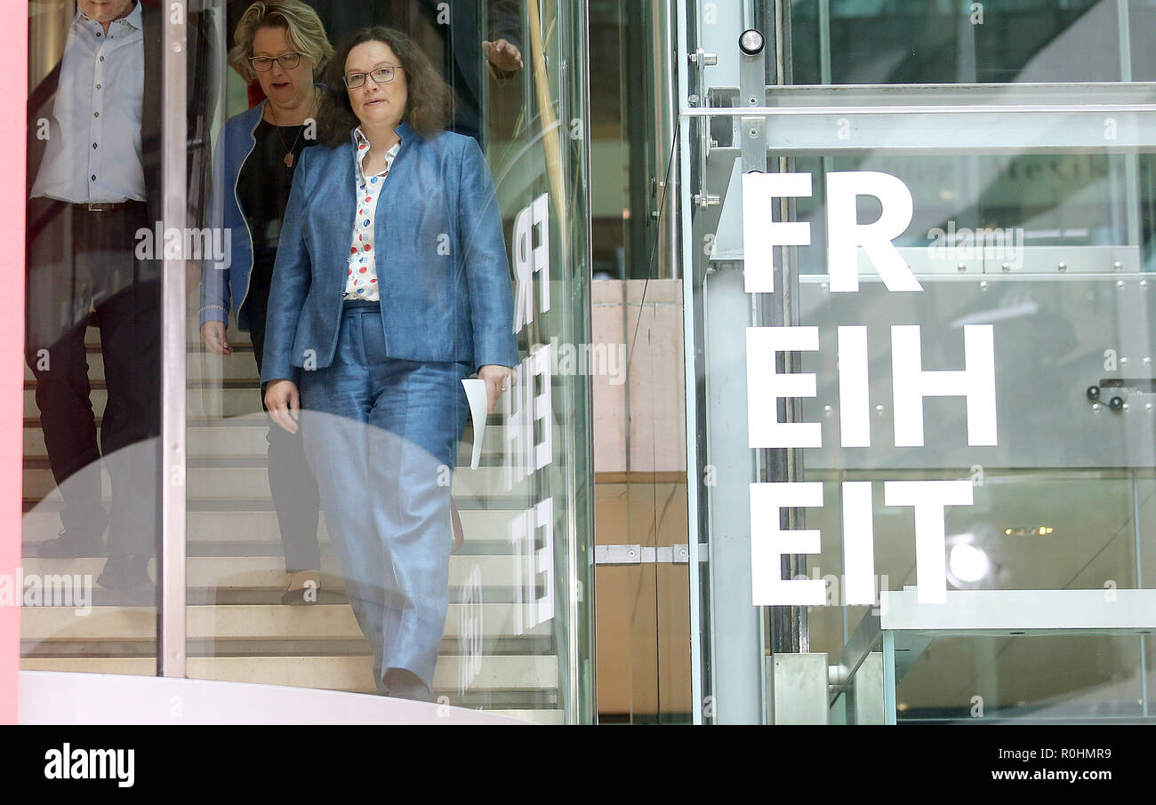 Berlin, Germany. 05th Nov, 2018. Andrea Nahles, chairwoman of the SPD, and members of the executive board will attend a press conference in the Willy Brandt House after the meeting of the SPD executive board to inform the media representatives at the end of the closed-door meeting of the SPD federal leadership. Left Svenja Schulze, Federal Environment Minister. Credit: Wolfgang Kumm/dpa/Alamy Live News - Stock Image