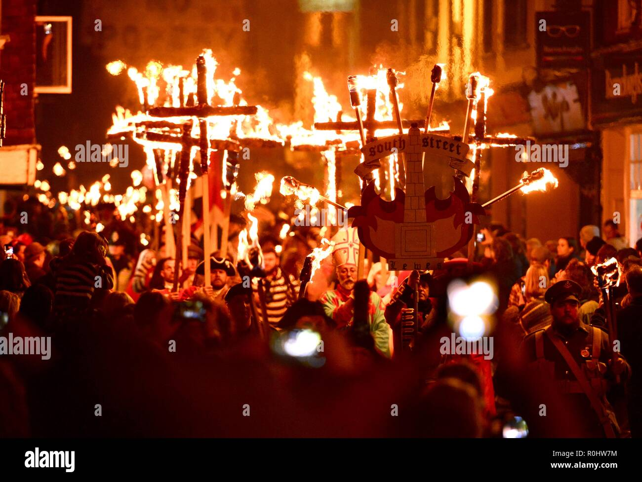 Lewes, East Sussex, UK. 5th November 2018. Bonfire celebrations in Lewes, East Sussex. The town is famous for its annual event different bonfire societies gather in their thousands, to celebrate the foiling of the 1605 gunpowder plot, before blowing up various satirical tableaux. ©️Peter Cripps/Alamy Live News - Stock Image