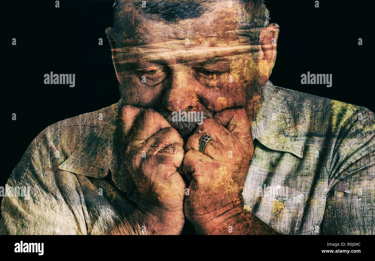 Double exposure portrait of senior man yearning for the fatherland - Stock Image