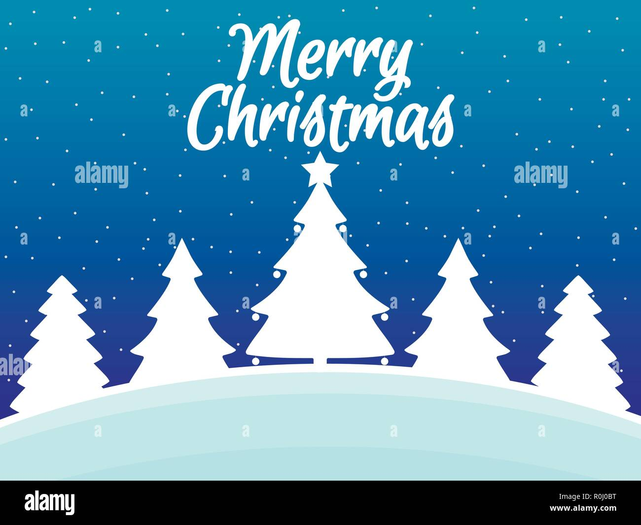 Merry Christmas Winter Landscape With Snowflakes And Christmas Trees Xmas Background Vector Illustration Stock Vector Image Art Alamy