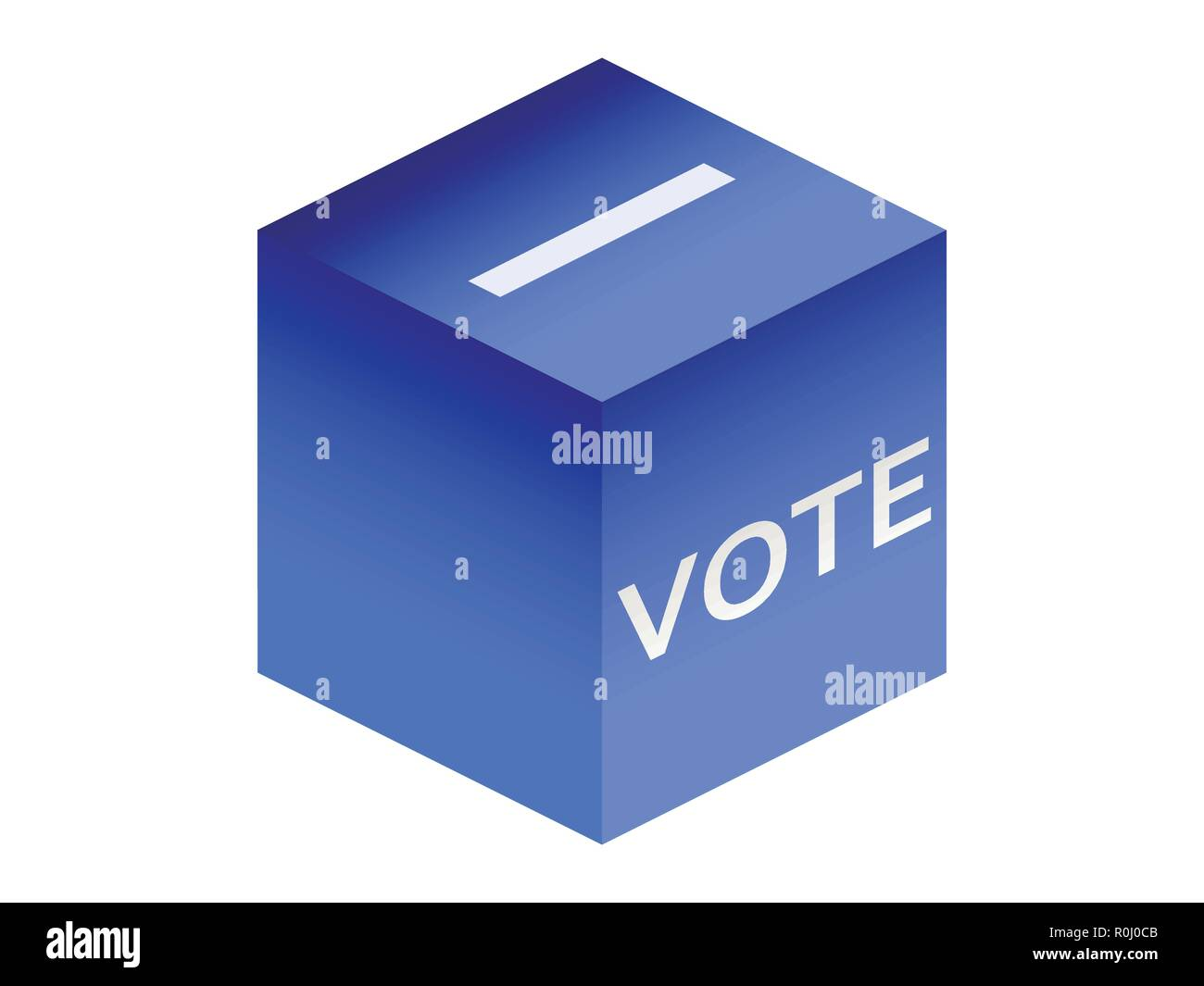 Isometric ballot box isolated on white background. Voting. Vector illustration - Stock Image