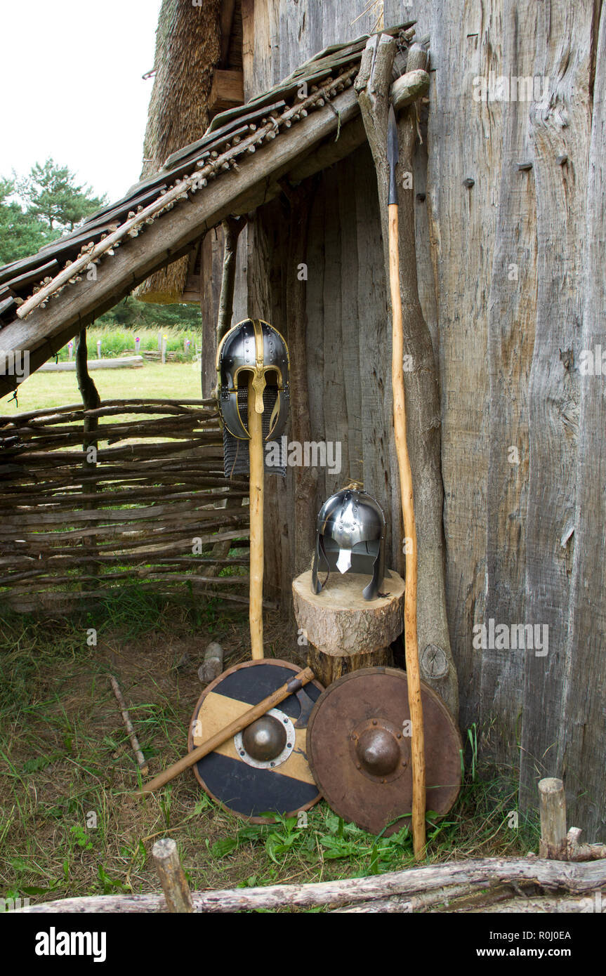 Anglo-Saxon Helmets, spears, shields and an axe. - Stock Image