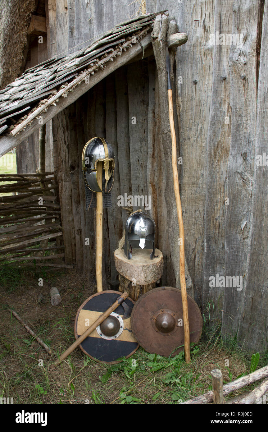 A display of early medieval Anglo Saxon weapons and armour. - Stock Image