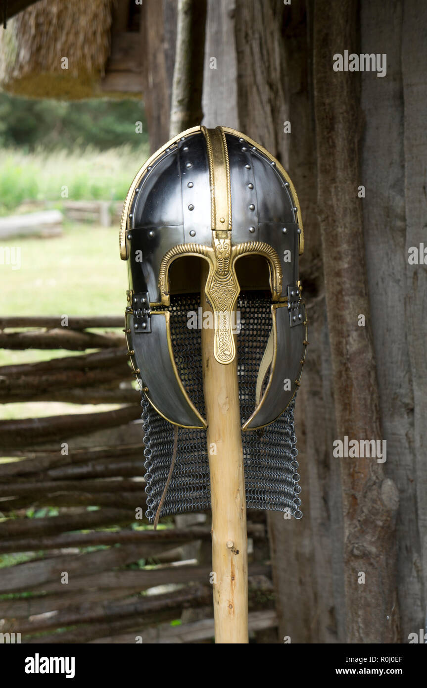 An early medieval helmet with nose guard and check protection. Stock Photo