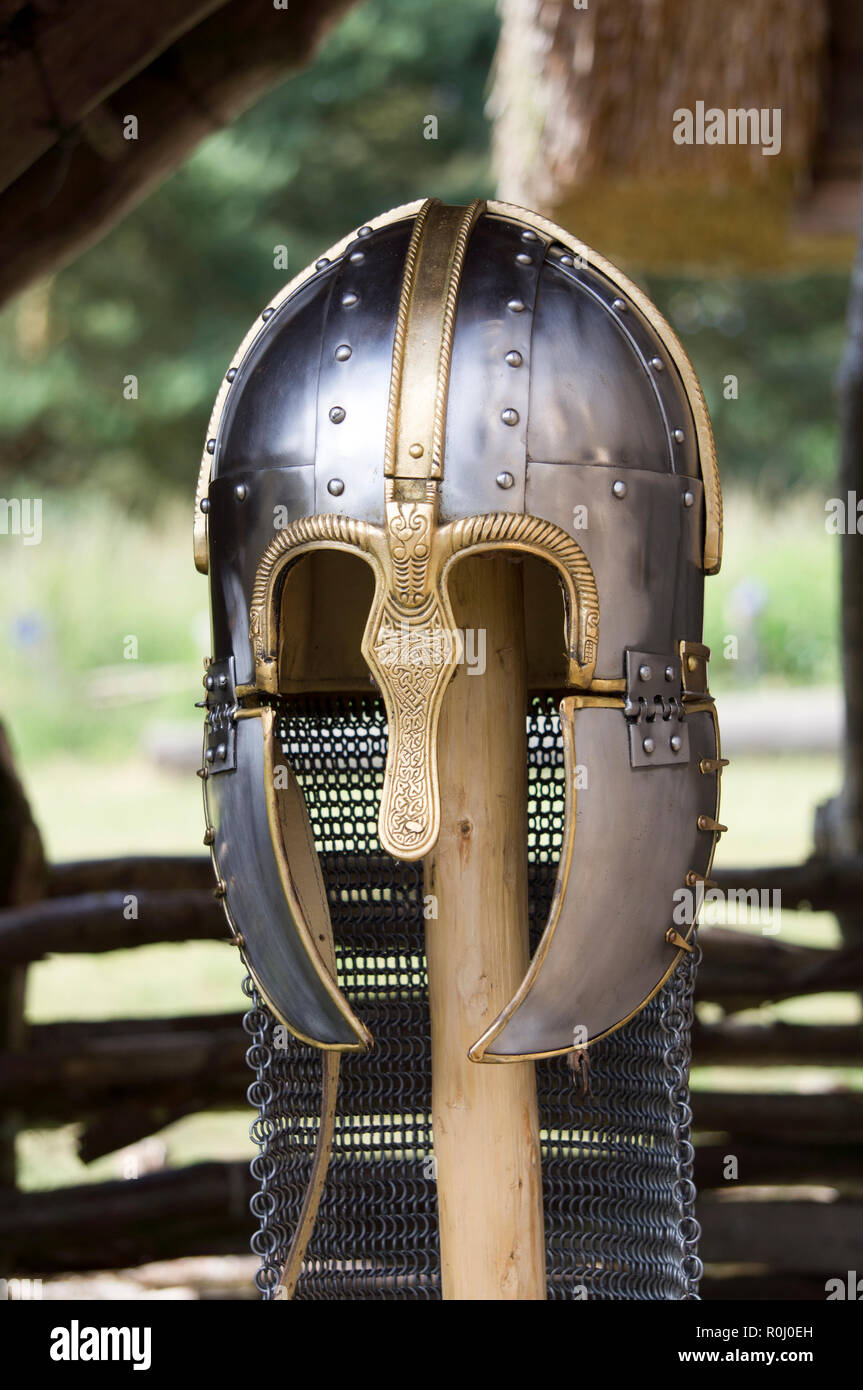 A replica of an Anglo Saxon helmet. Stock Photo
