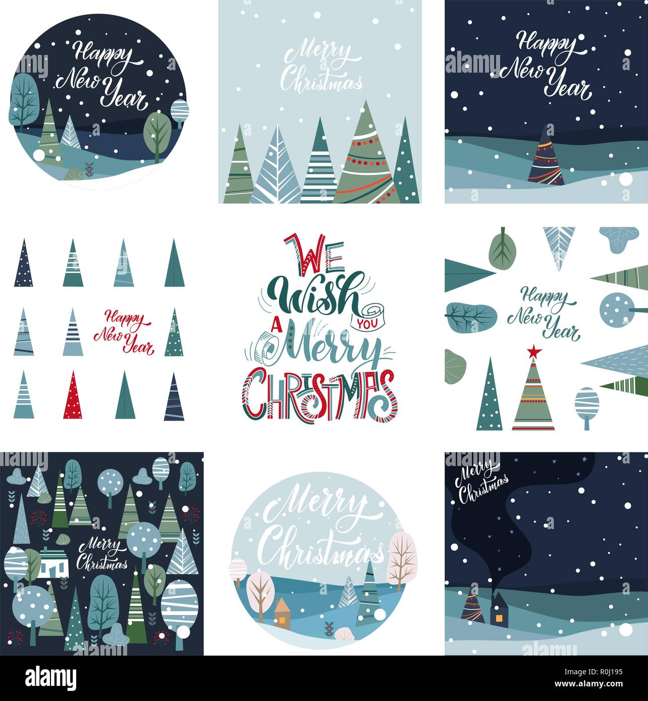 Merry Christmas And Happy New Year Postcards Set Hand Drawn Lettering Winter Forest Elements For Greeting Card Poster Banners T Shirt Notebook And Sticker Design Stock Vector Image Art Alamy