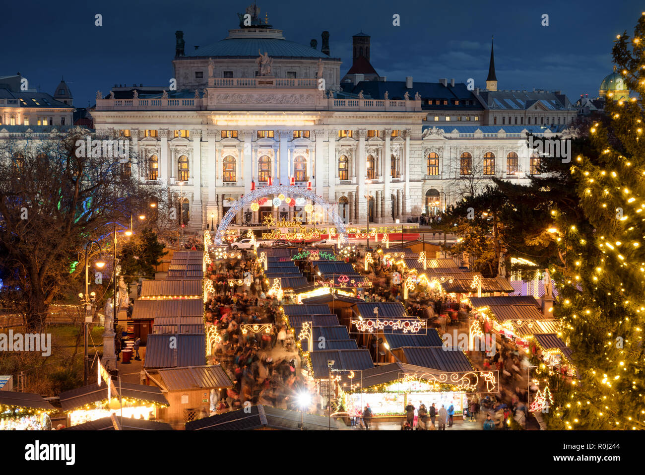 Vienna Christmas Market.Vienna Christmas Market In Front Of The Burgtheater And City
