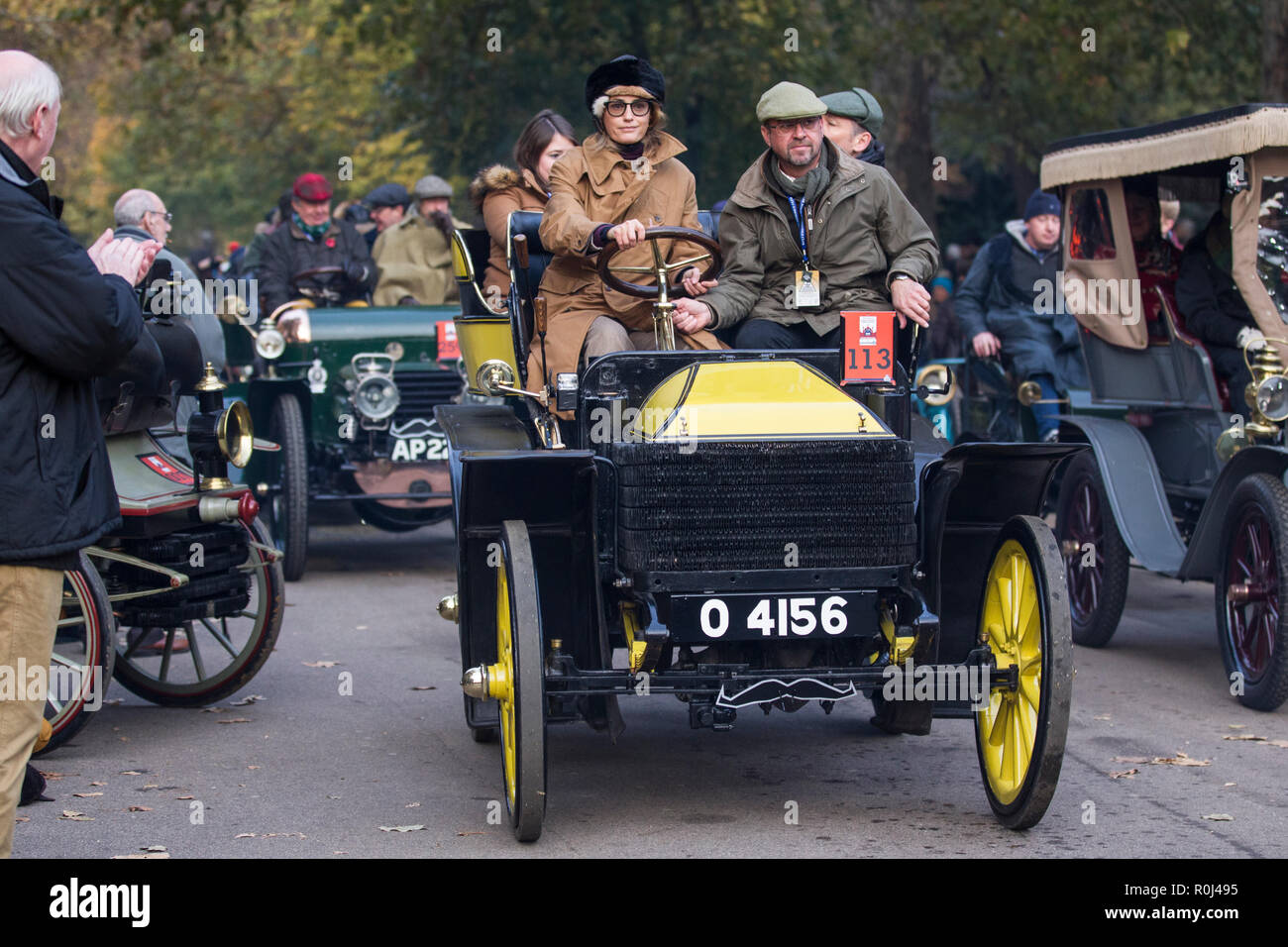 Yasmin Le Bon driving a 1901 Wolsely in the Bonhams London to Brighton Veteran Car Run 2018, the world's oldest motoring event - Stock Image
