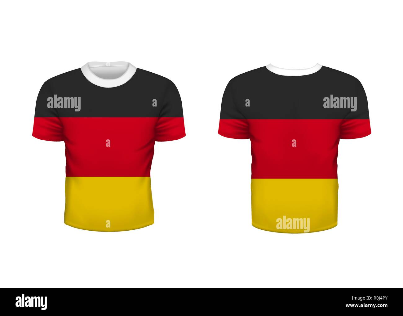 e13dc338258 Realistic sport t-shirt with germany flag from front and back isolated on  white -