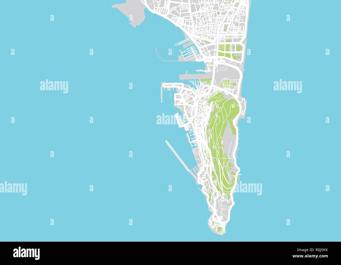 Map Of Spain Near Gibraltar.Urban Vector City Map Of Gibraltar Spain Stock Vector Art