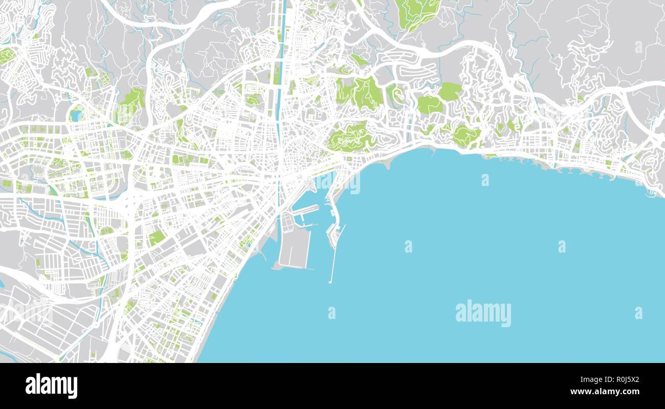 Urban Vector City Map Of Malaga Spain Stock Vector Art