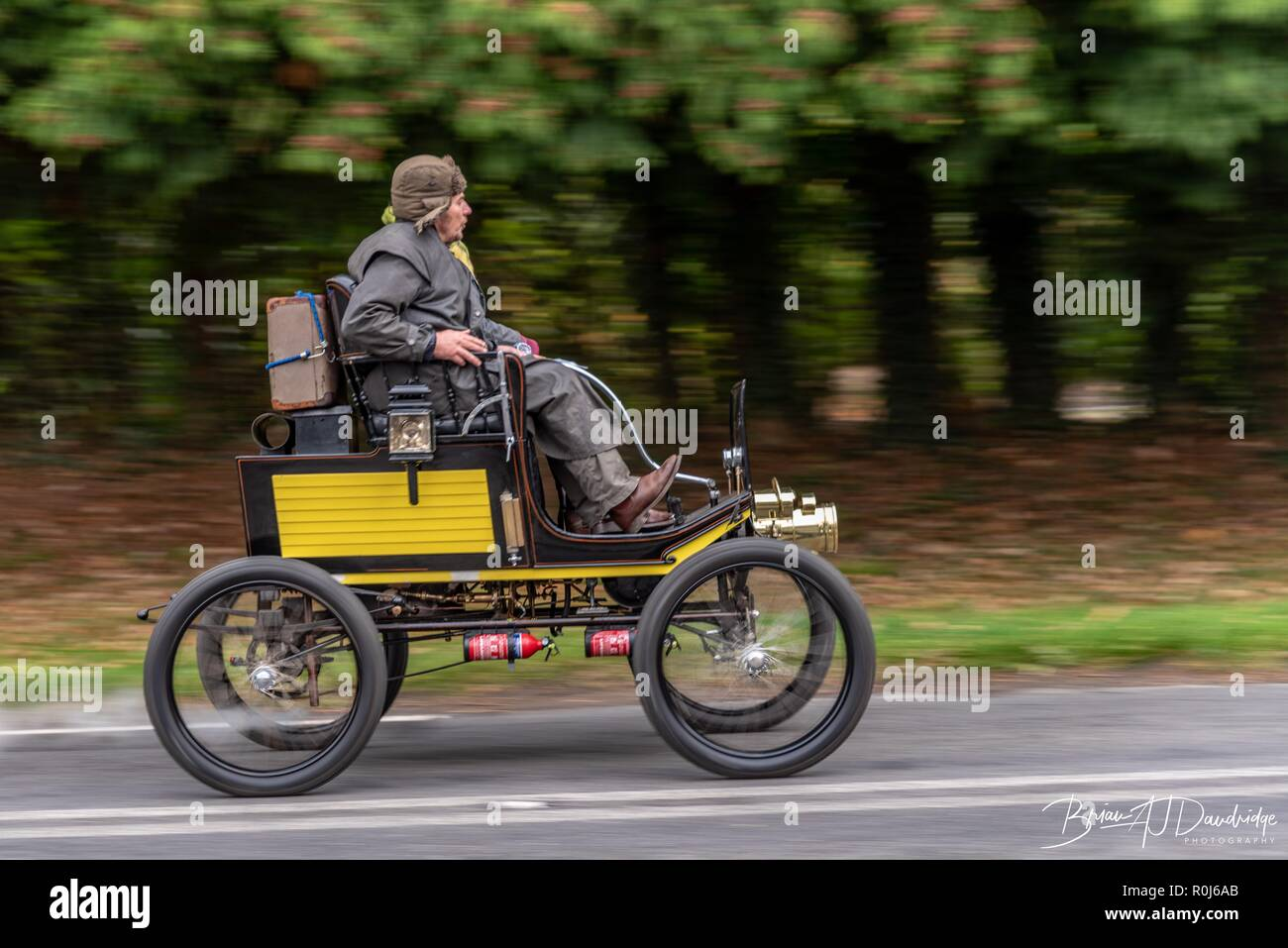 Veteran cars pass through Staplefield whilst taking part in the annual London to Brighton Veteran Car Run - 2018 - Stock Image