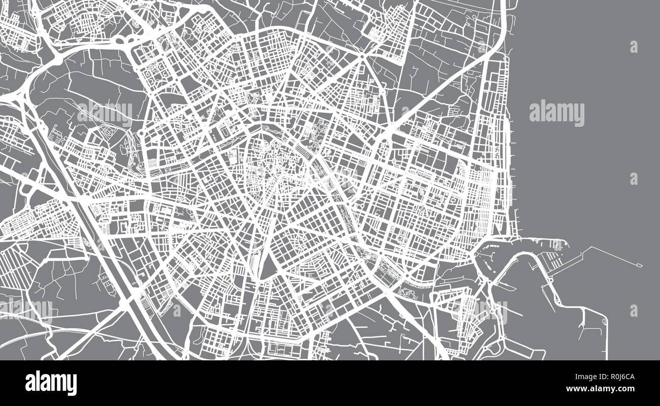 Urban vector city map of Valencia, Spain Stock Vector Art ...