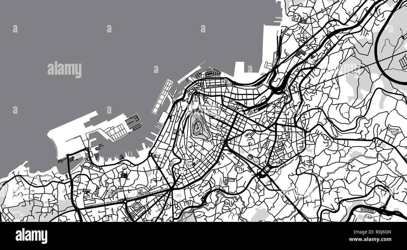 Urban Vector City Map Of Vigo Spain Stock Vector Art Illustration