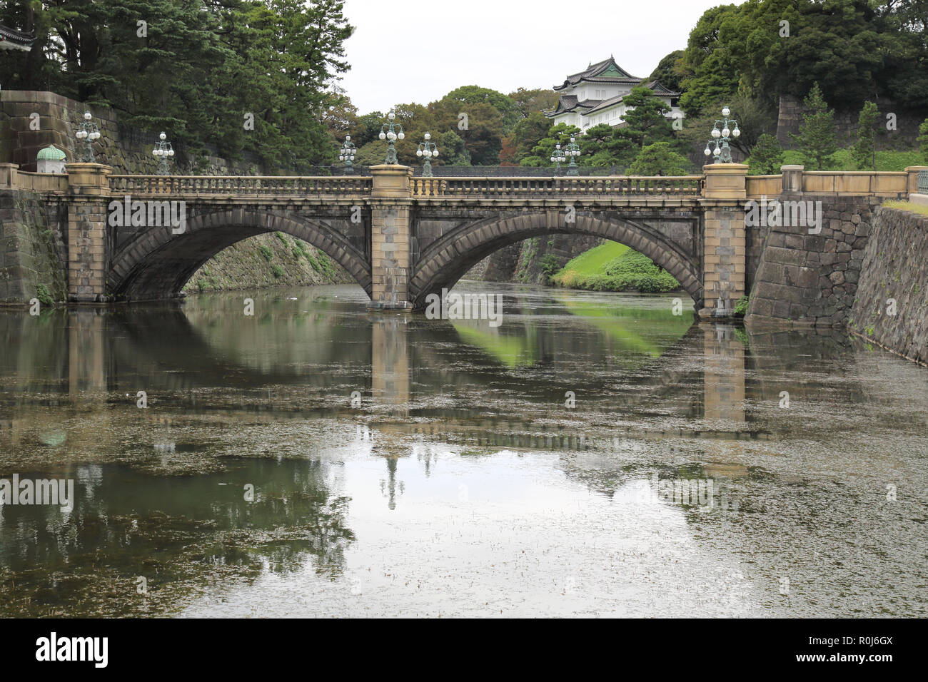 the nijubashi bridge at the imperial palace tokyo japan - Stock Image