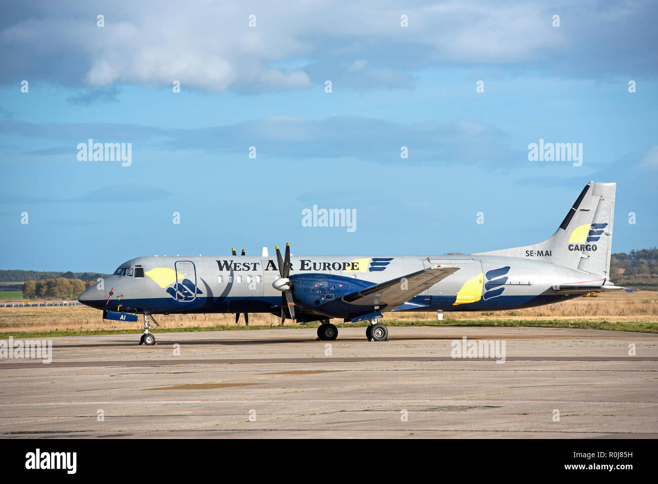 Swedish West Air Europe Freighter aircraft SE-MAI on lease, parked at Inverness Dalcross airports the Scottish Highlands. Stock Photo