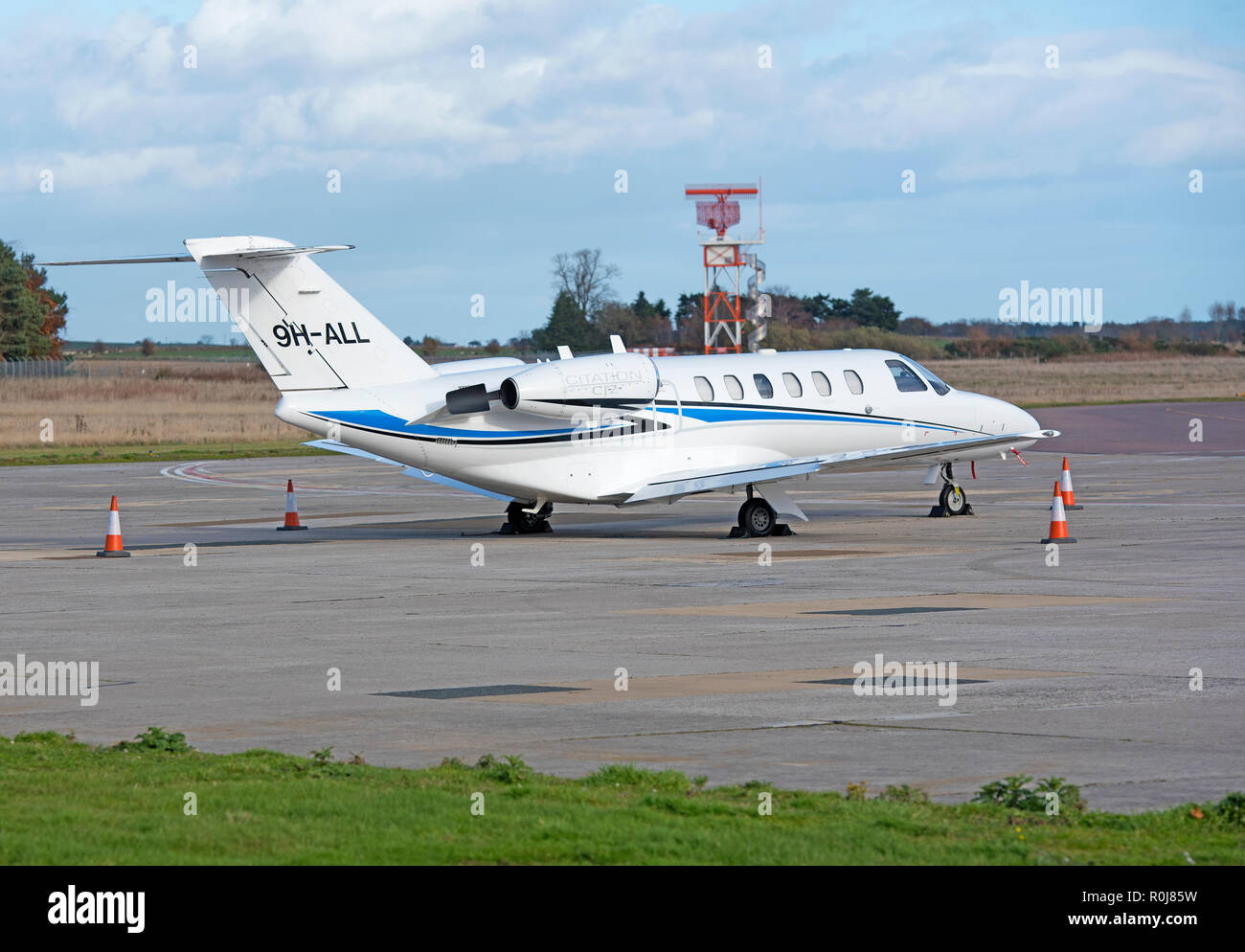 Registered in Malta A cessna Citation 525 parked after its arrival at Inverness Dalcross airport Scotland.UK. Stock Photo