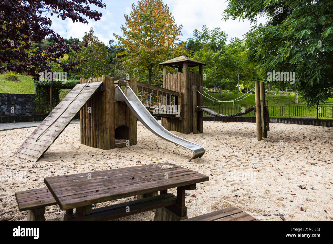 Public Wooden Castle Playground To The Kids Stock Photo 224136658