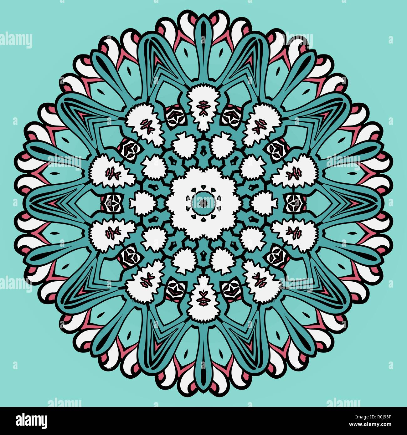 Colorful circle flower mandala background in light  blue. - Stock Image