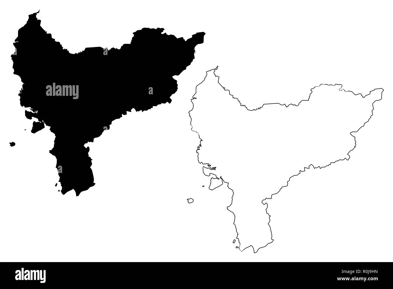 West Kalimantan (Subdivisions of Indonesia, Provinces of Indonesia) map vector illustration, scribble sketch West Kalimantan map - Stock Image