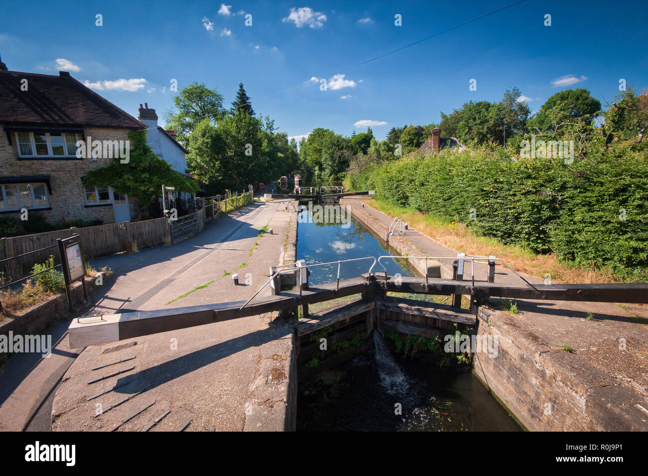 Canal lock on a sunny summer day on Grand Union Canal, United Kingdom Stock Photo