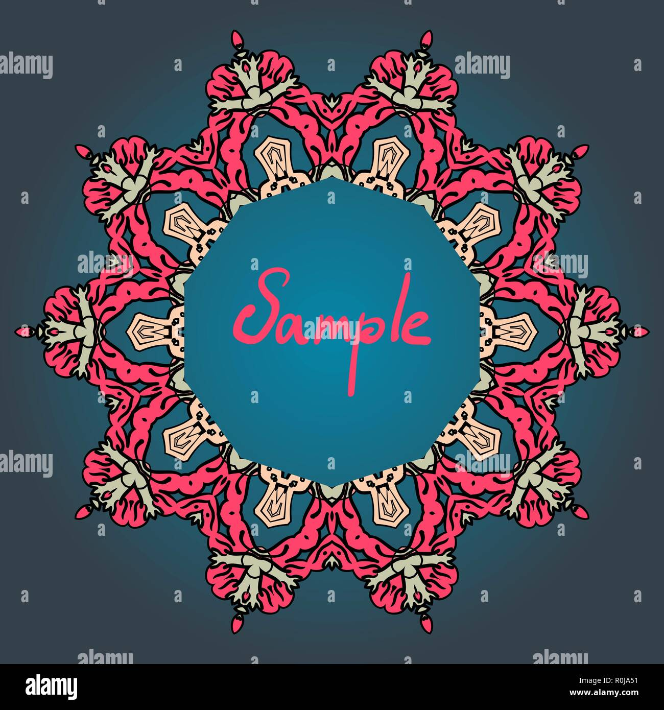 Stylized mandala frame with place for text. Red and blue color. - Stock Image