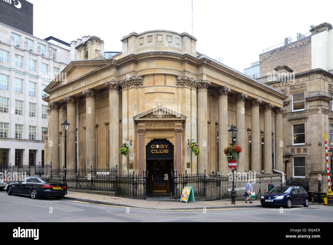 Cosy Club Restaurant in Converted Former Midland Bank, a Neo-Classical Victorian or c19th Building, in Central Birmingham UK - Stock Image