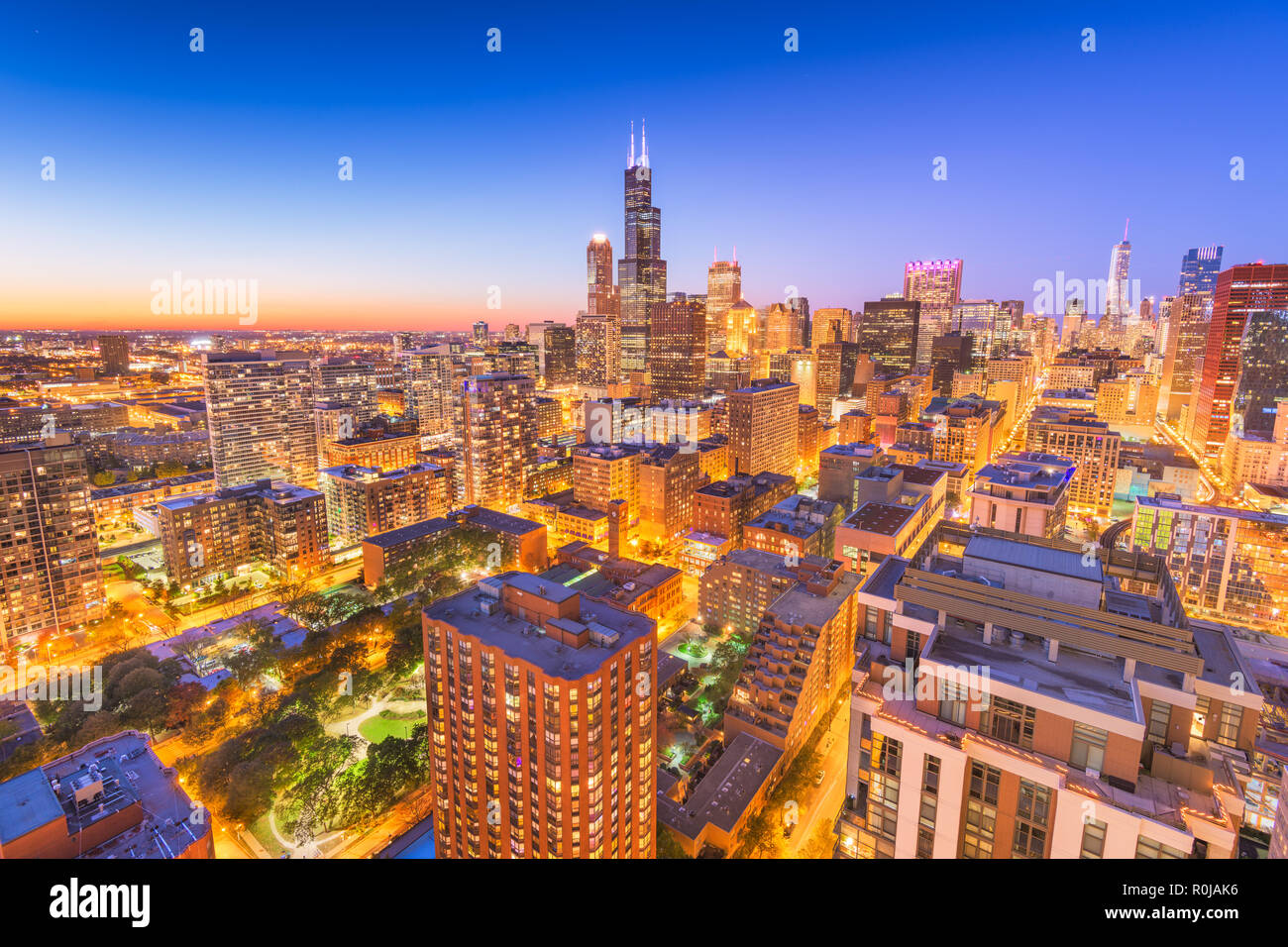 Chicago, Illinois, USA downtown city skyline from above at dusk. - Stock Image