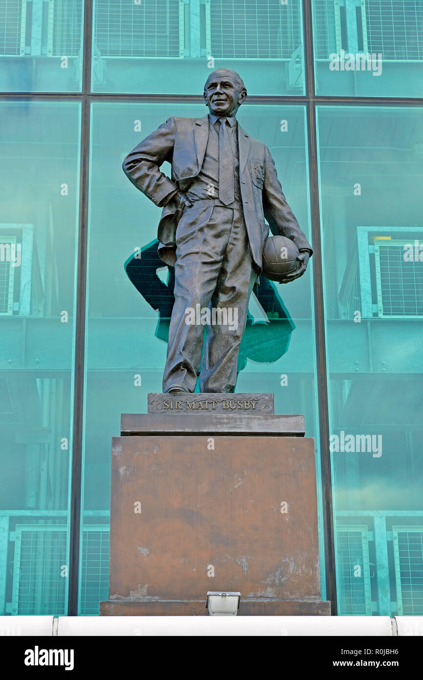 Sir Matt Busby Statue Outside Old Trafford, Home of Manchester United Football Club, England, United Kingdom - Stock Image