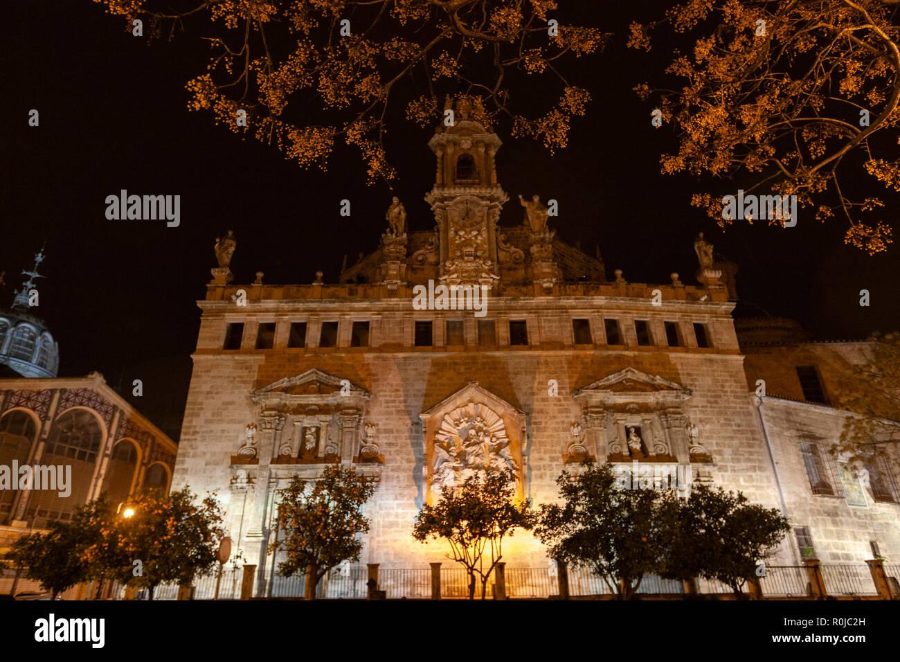 Facade of the La Lonja, The Llotja de la Seda or the La Lonja Silk Exchange ,at night, Valencia, Spain Stock Photo