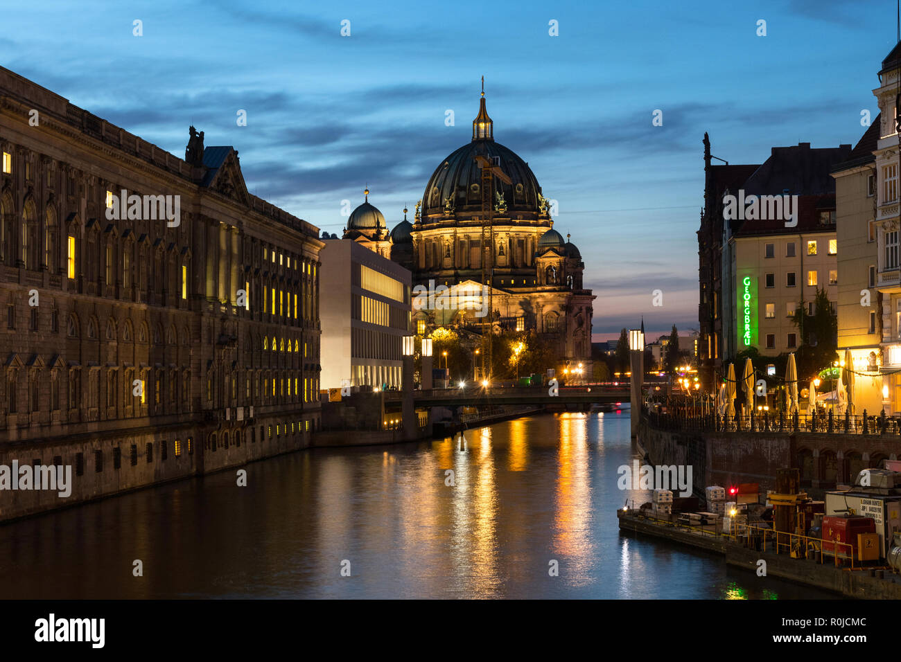 new Humboldt Forum at Spree banks and Berliner Dom in background, in Berlin Mitte, Germany - Stock Image