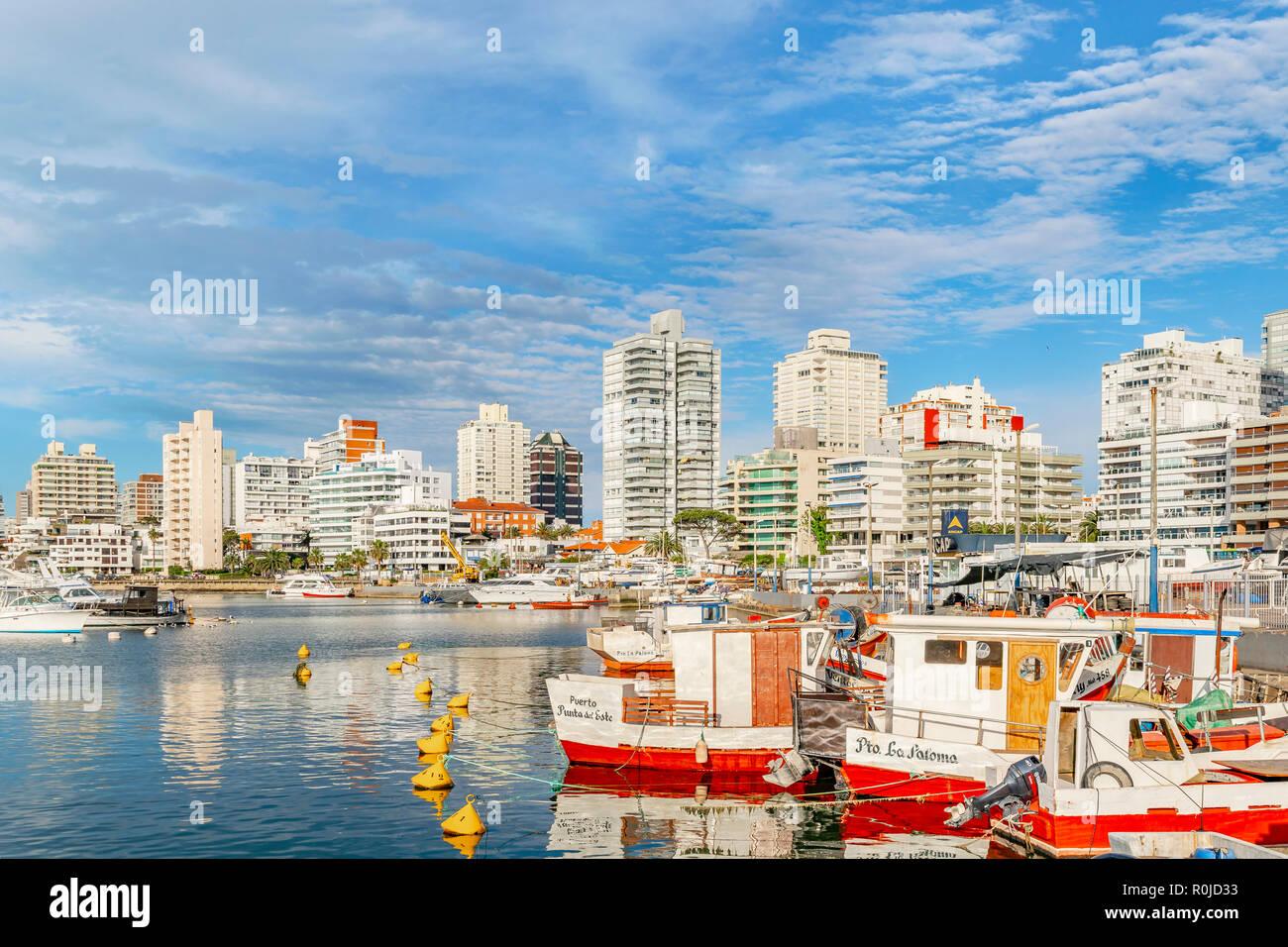 PUNTA DEL ESTE, URUGUAY, OCTOBER - 2018 - Cityscape scene at port in punta del este city, Uruguay - Stock Image