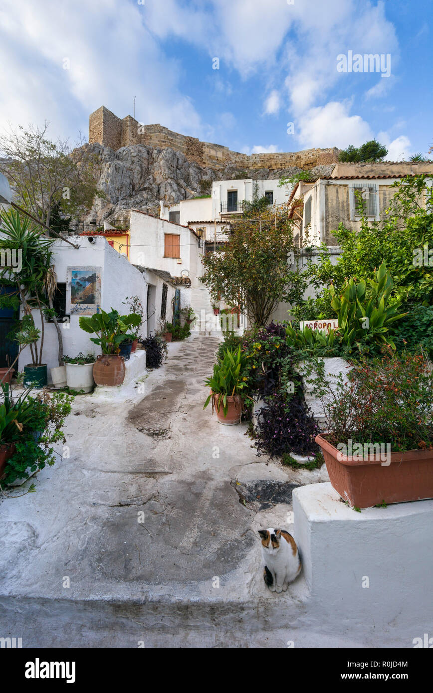 Athens. Greece. Cycladic style architecture of Anafiotika on the edge of the Plaka district nestles against the Acropolis. - Stock Image
