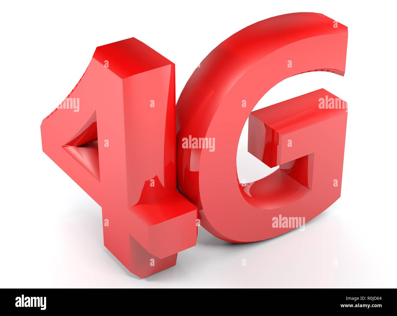 4G in red 3D characters on white background - 3D rendering illustration - Stock Image