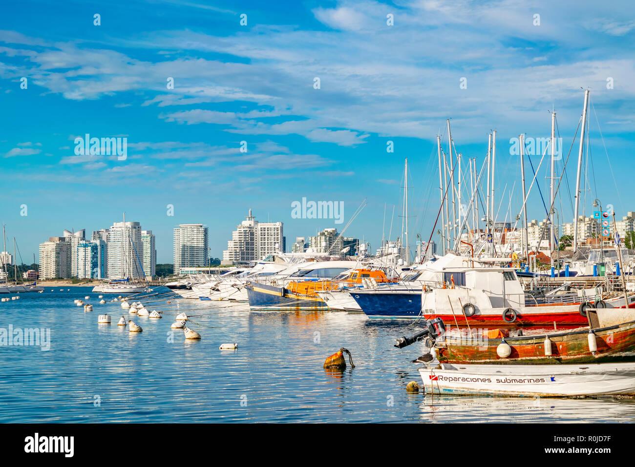 PUNTA DEL ESTE, URUGUAY, OCTOBER - 2018 - Boats parked at port in punta del este city, Uruguay - Stock Image