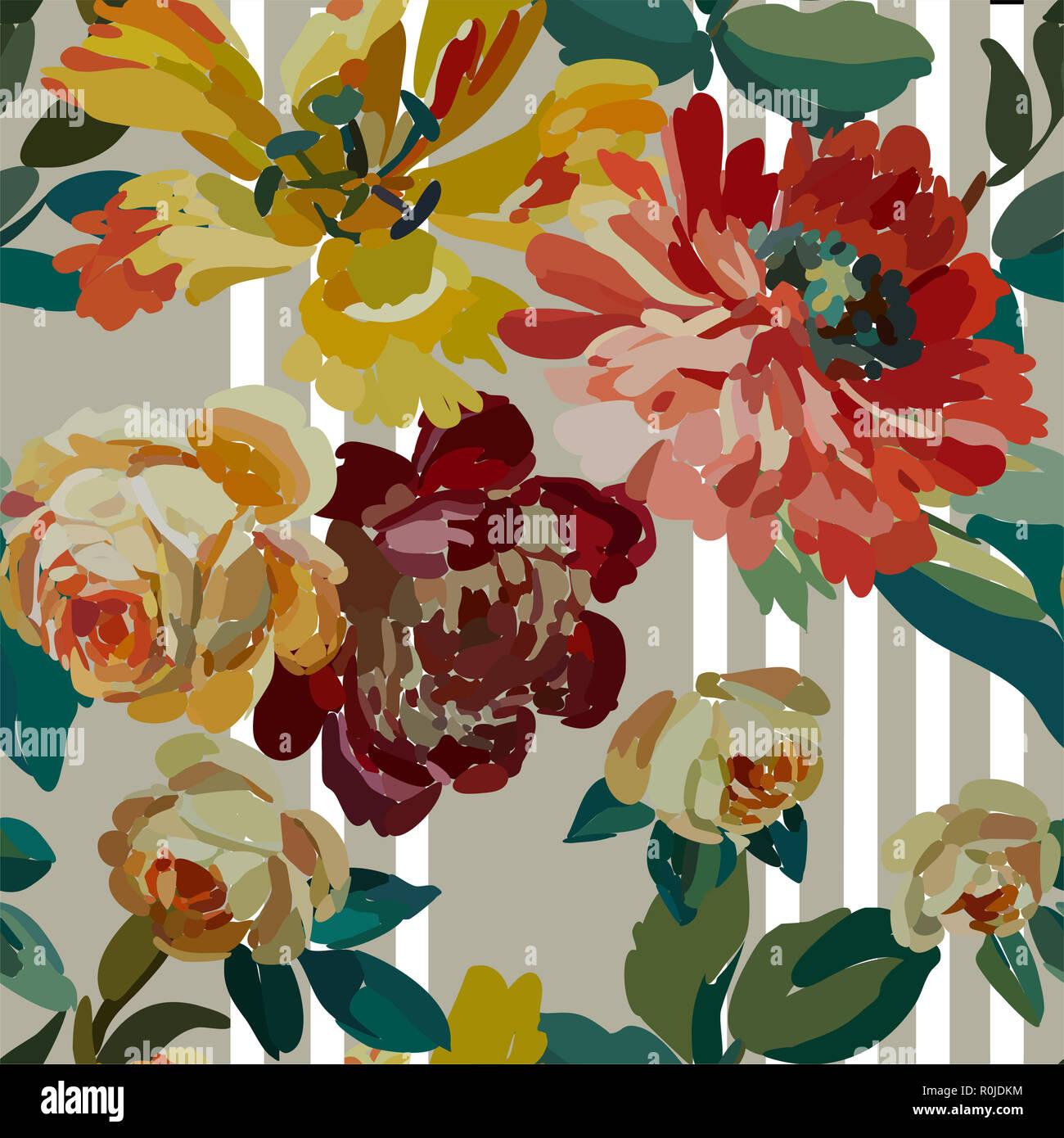Vintage Floral Seamless Background Pattern Blooming Garden
