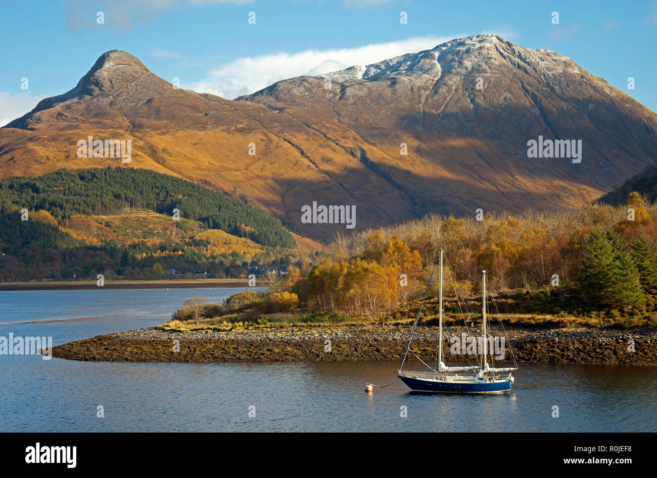 Pap of Glencoe mountain, over Loch Leven from Ballachulish, Lochaber, Scotland, UK - Stock Image