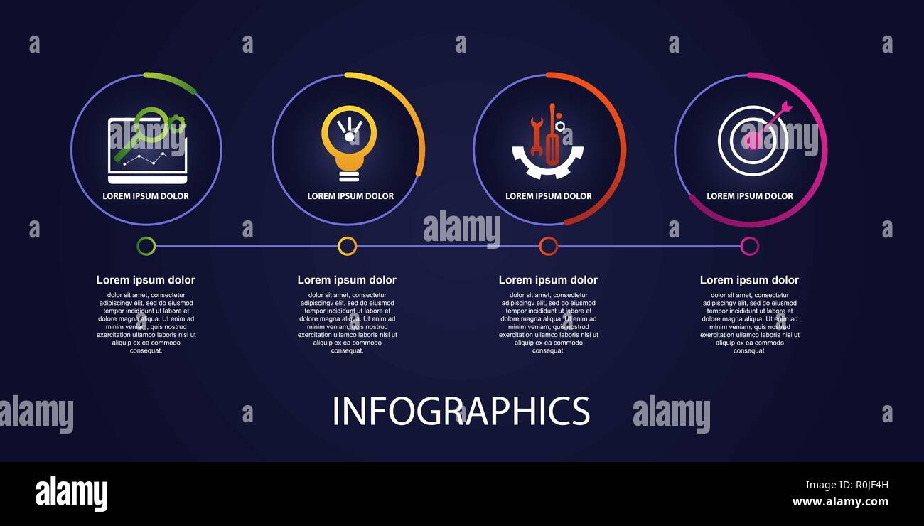 Dark vector illustration 3D  Infographic template with four
