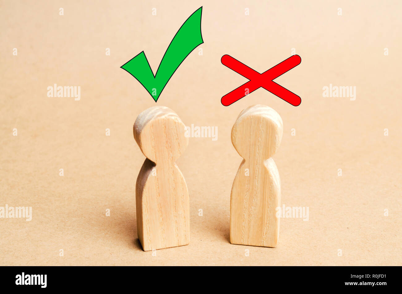 a dispute between people, tension, misunderstanding, family psychology. consent and disagreement - Stock Image